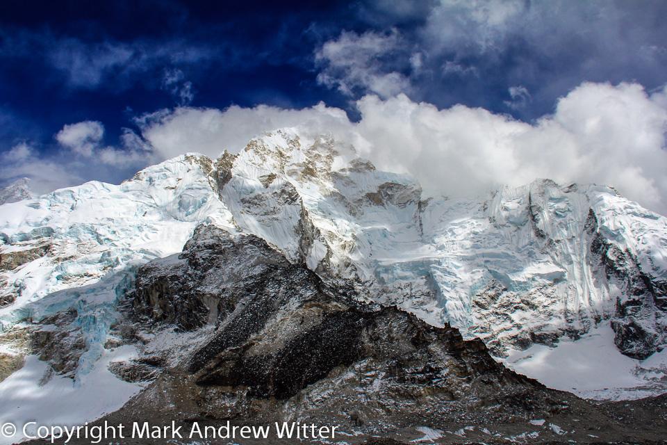 Icefall on Nuptse in Himalayas