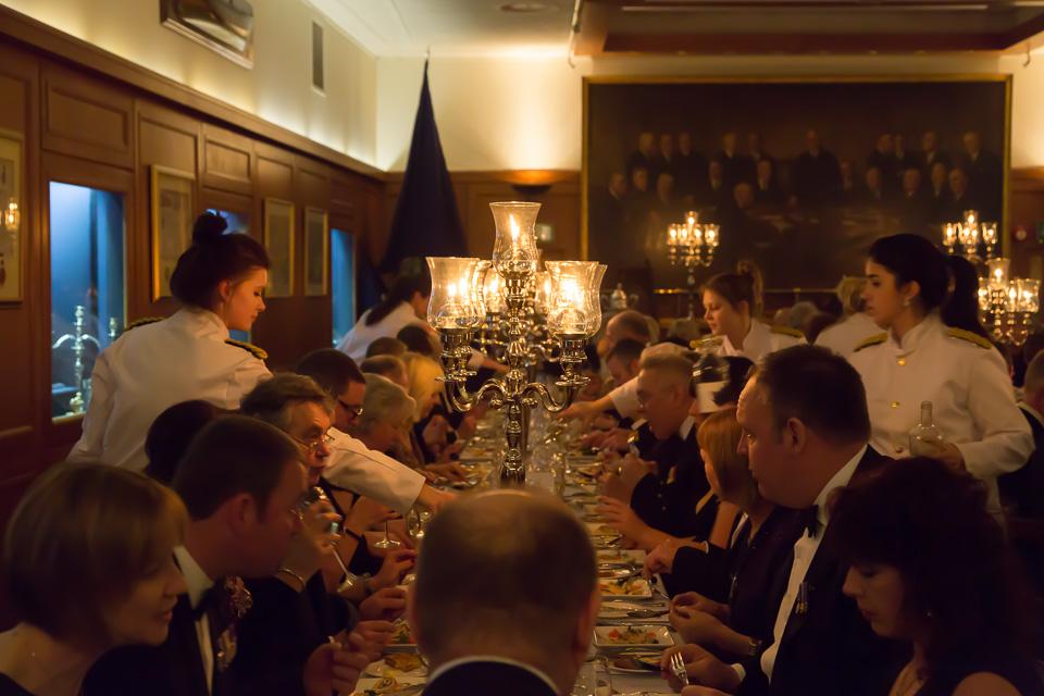 waitresses serving dinner at Beadles' Guild Dinner
