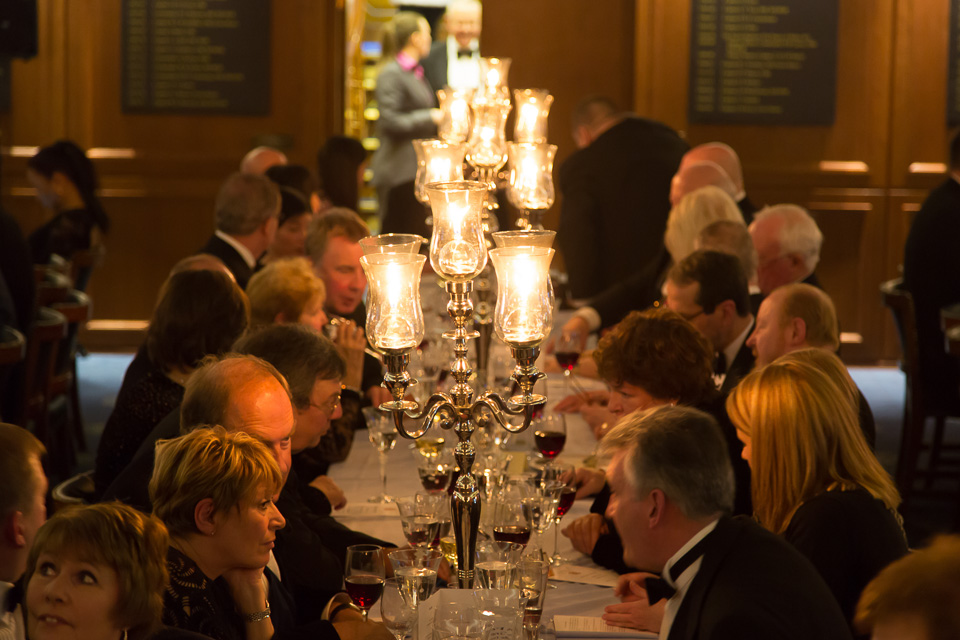 table lamp and diners at Beadles' Guild Dinner