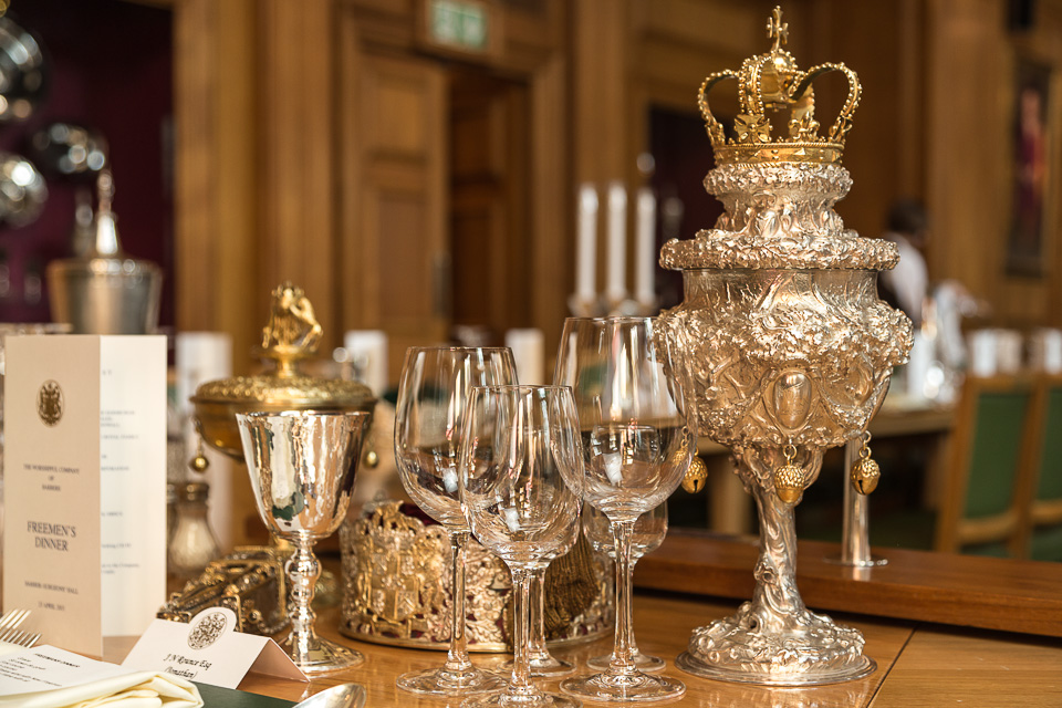 Goblet on table at City of London event