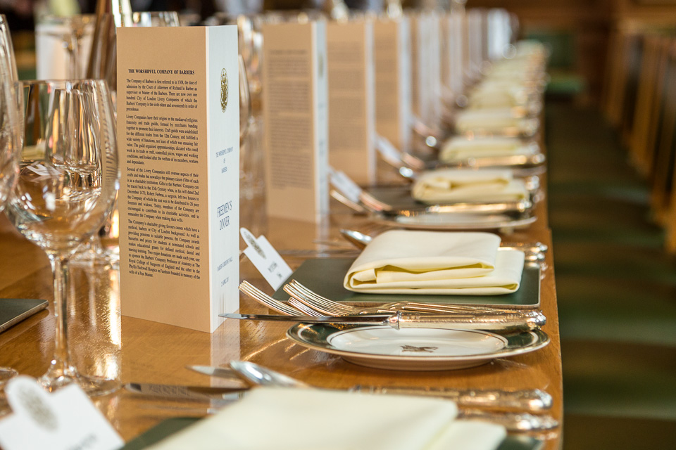 Dinner service on table at City Event