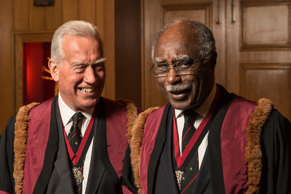 Sir Roger Henry Vickers KCVO FRCS (Left) and The Rt Hon The Lord Rebeiro CBE FRCS (Right)