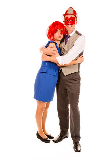couple hugging in fancy dress Masks