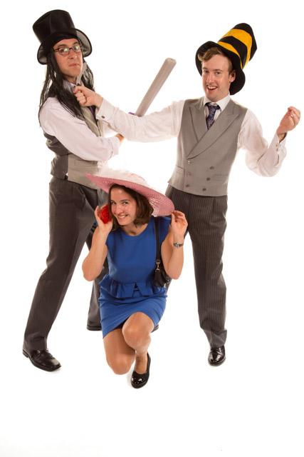 Three people in famcy hats Mobile Photo Studio