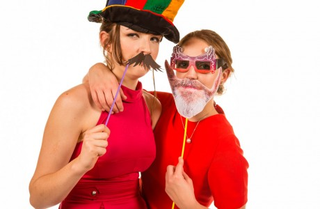 two party girls in fancy dress masks Mobile Photo Studio