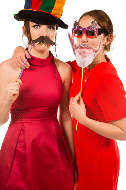 Mobile Photo Studio two girls in fancy dress masks