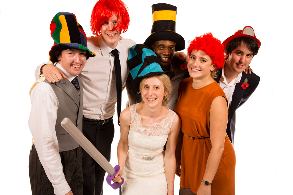 Mobile Photo Studio wedding party guests in fancy dress