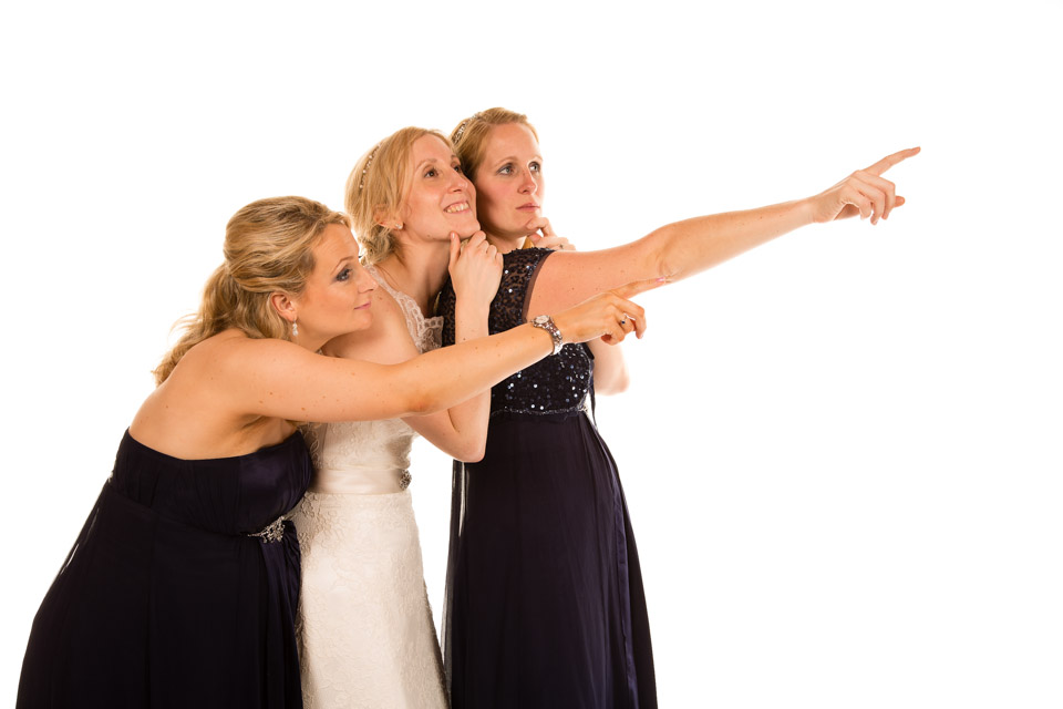 Mobile Photo Studio - bride and bridesmaids pointing