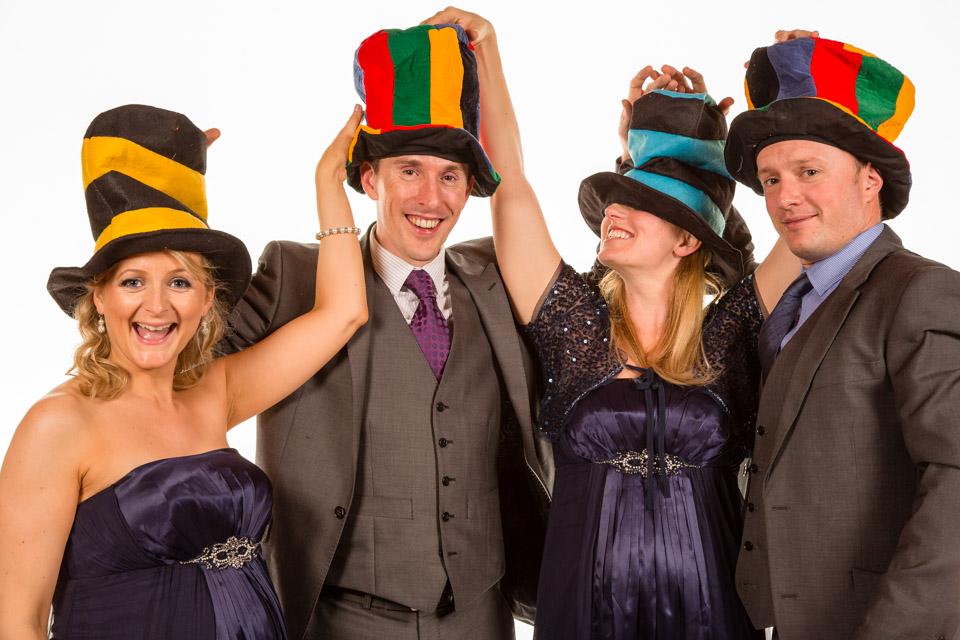 Mobile Photo Studio 4 people in fancy dress hats