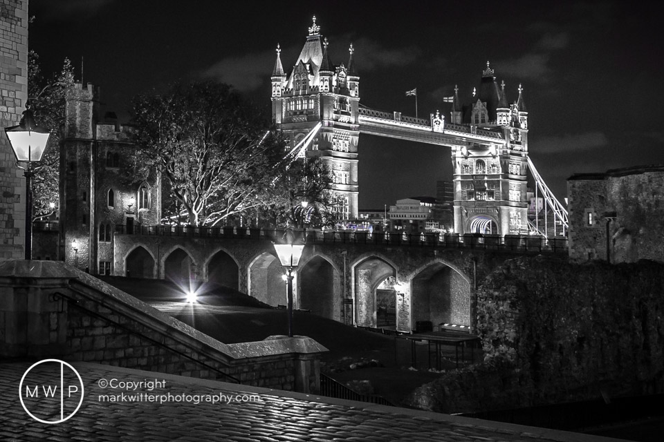 Tower Bridge from The Tower of London by Night