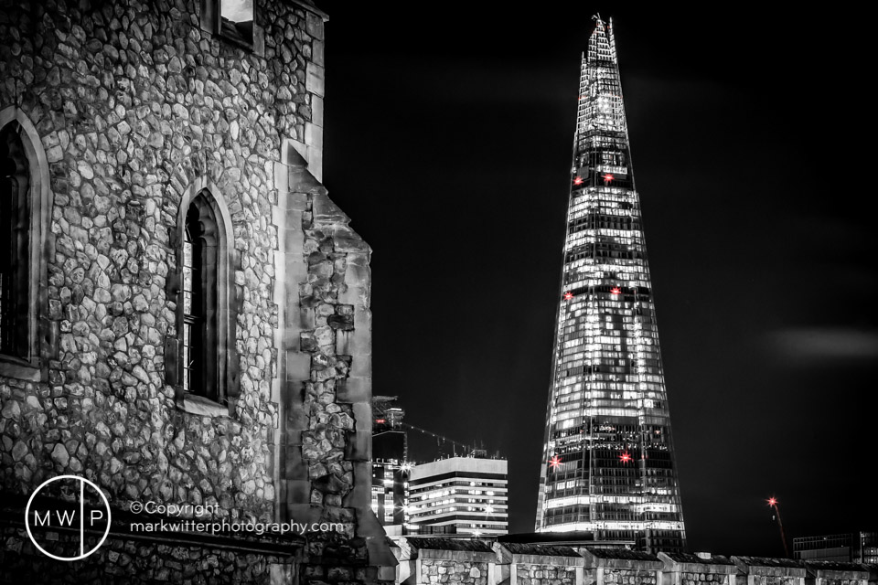 The Shard from Tower of London by Night