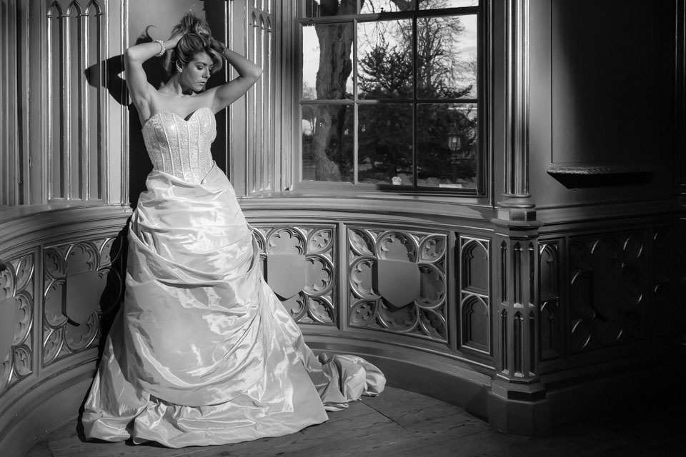 Model in wedding dress in black and white