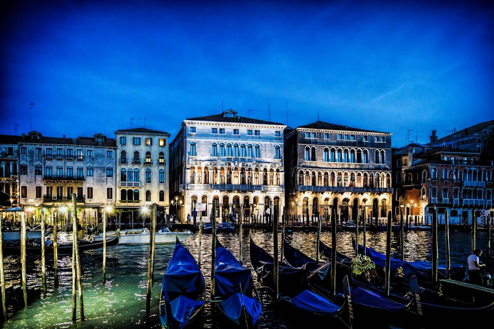 Venice buildings and canal at night