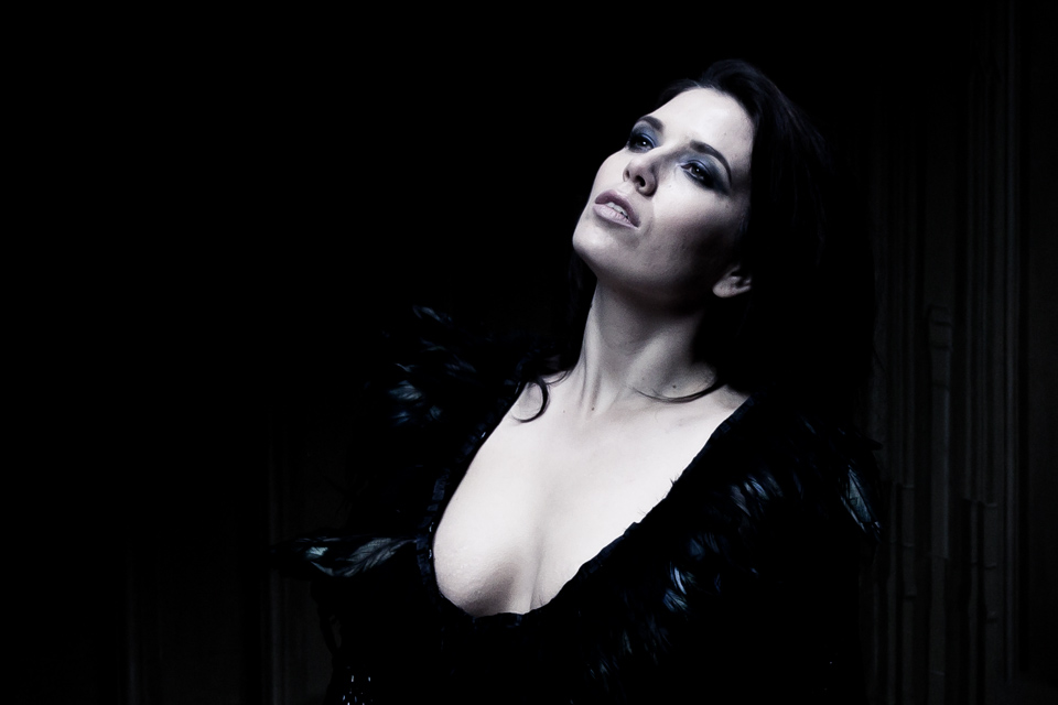 model with dark background