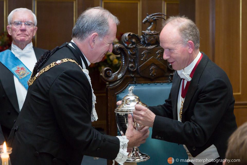 Sir Alan Yarrow Lord Mayor of London 2014-15 share the Loving Cup with Lance Shaw,