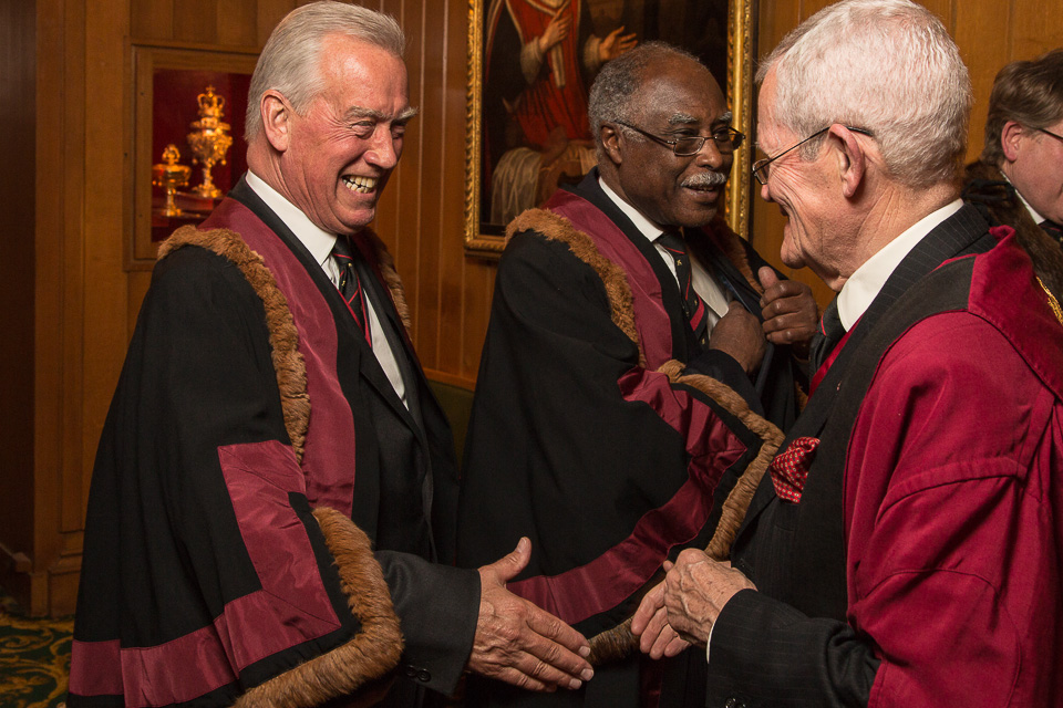 Sir Roger Henry Vickers KCVO FRCS (Left) and The Rt Hon The Lord Rebeiro CBE FRCS (Right) of The Worshipful Company of Barbers' at the Barber Surgeon's Hall.