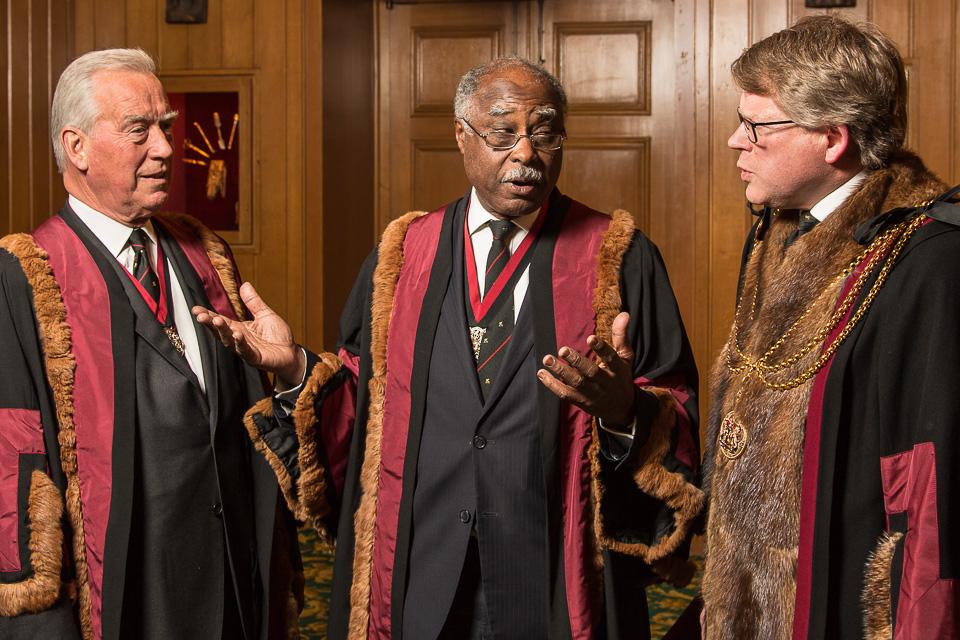 Sir Roger Henry Vickers KCVO FRCS (Left) The Rt Hon The Lord Rebeiro CBE FRCS (Centre) and Jonathan Rounce