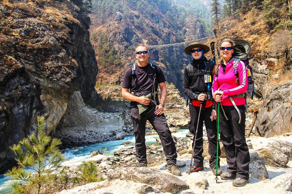 Witter family trekking near Larja Bridge in Himalayas
