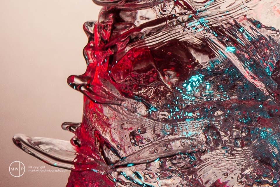 Colored water on glass
