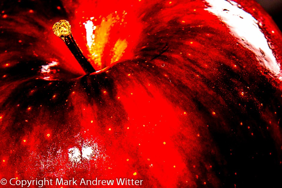 surreal close up of a red apple