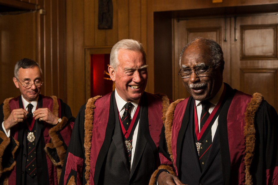 Liverymen laughing at Company event