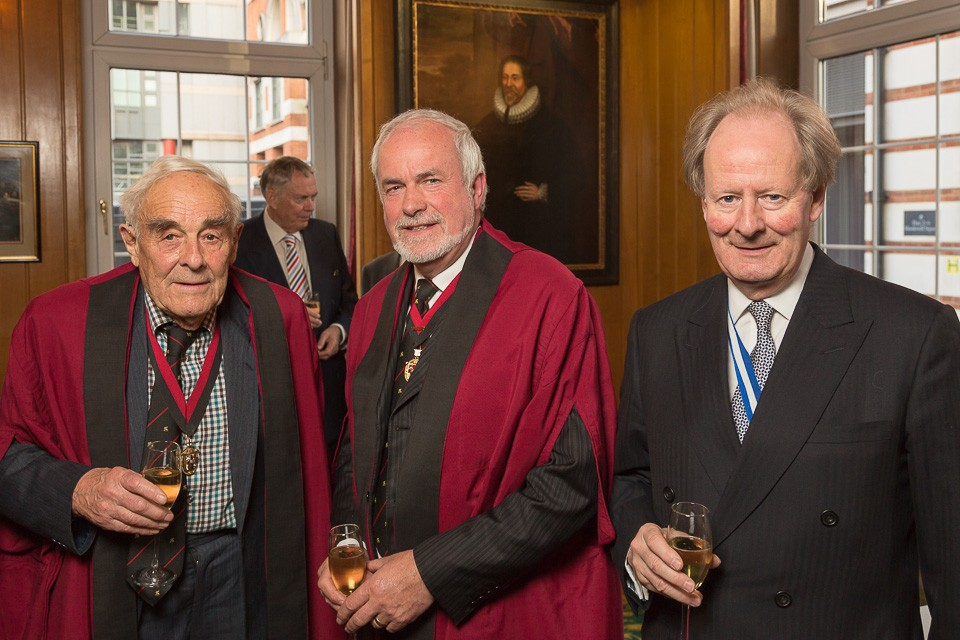 Three Liverymen with drinks